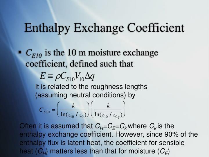 Enthalpy Exchange Coefficient