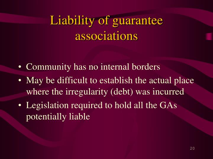Liability of guarantee associations