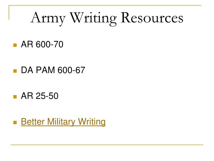 Army Writing Resources