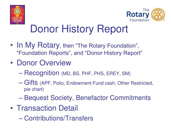 Donor History Report