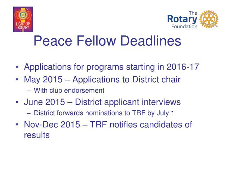 Peace Fellow Deadlines
