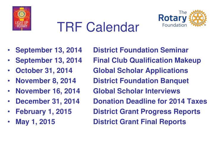 TRF Calendar