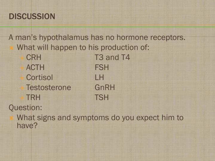 A man's hypothalamus has no hormone receptors.