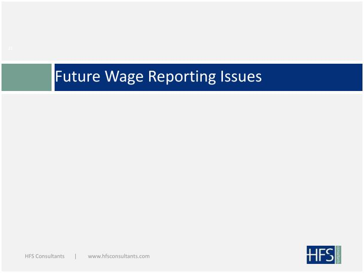 Future Wage Reporting Issues
