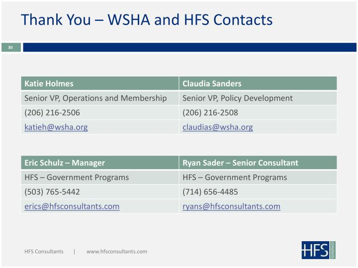 Thank You – WSHA and HFS Contacts