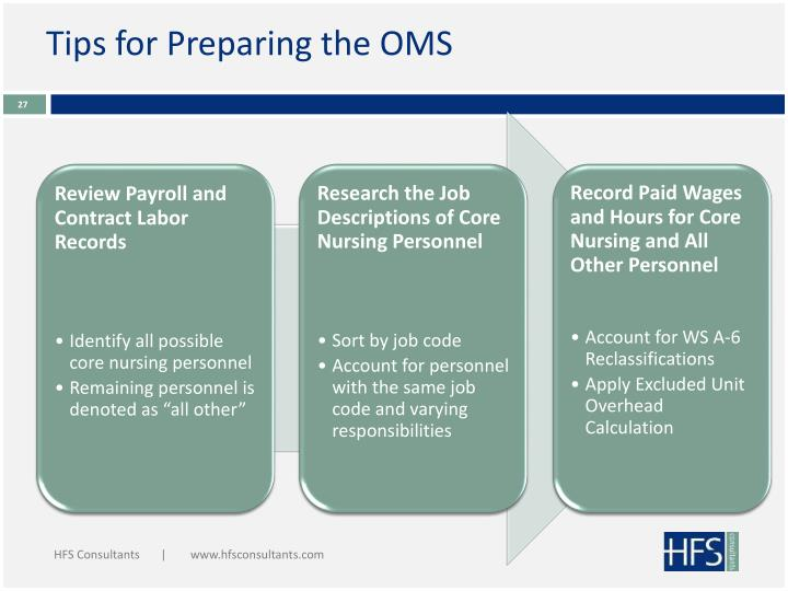 Tips for Preparing the OMS