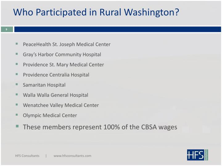 Who Participated in Rural Washington?