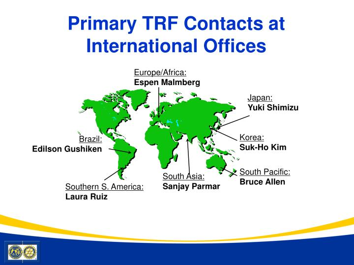 Primary TRF Contacts at International Offices