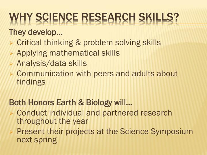Why science research skills