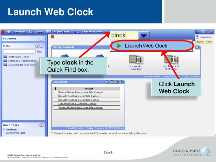 Launch Web Clock