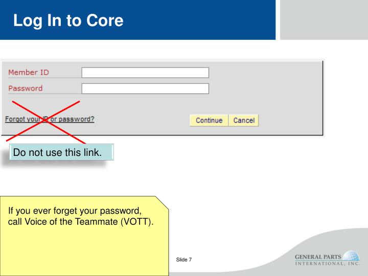 Log In to Core