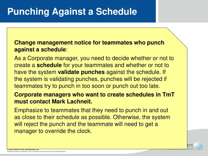 Punching Against a Schedule