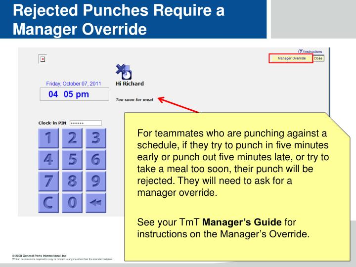 Rejected Punches Require a Manager Override