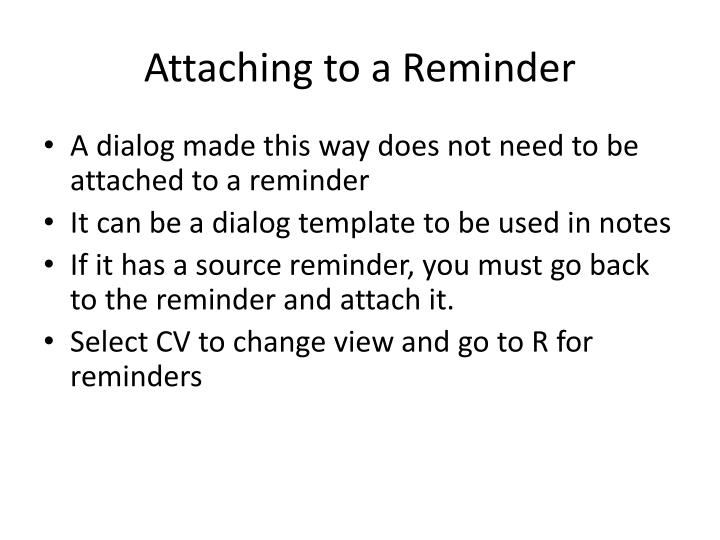 Attaching to a Reminder