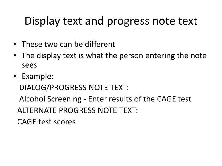 Display text and progress note text