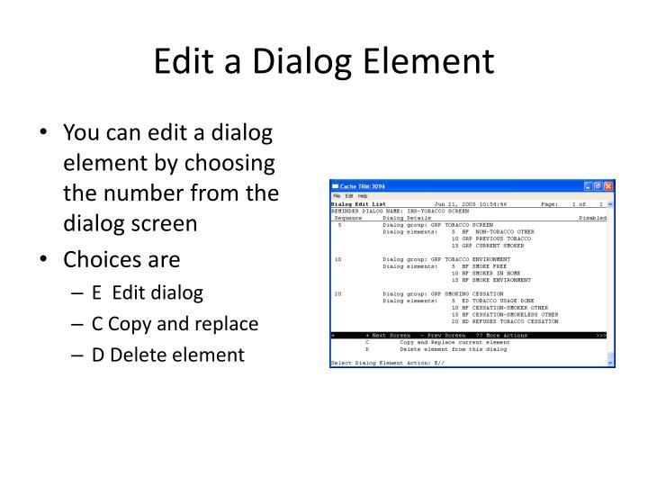 Edit a Dialog Element