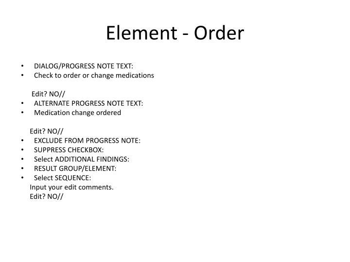 Element - Order