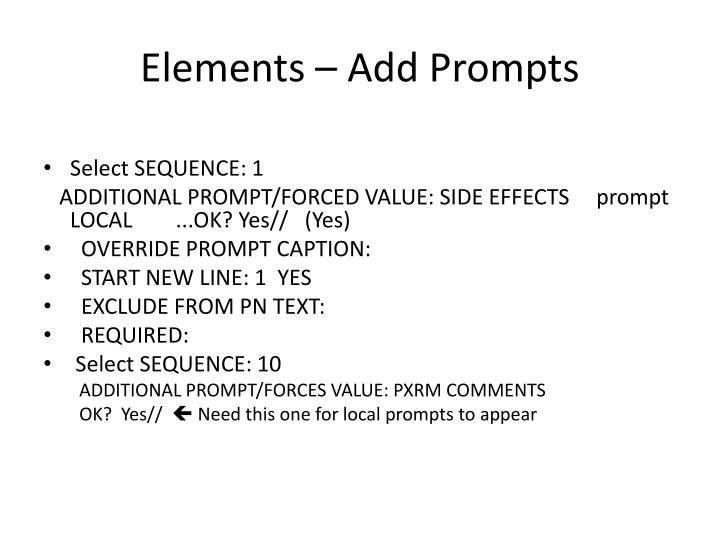 Elements – Add Prompts