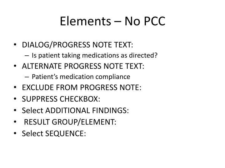 Elements – No PCC