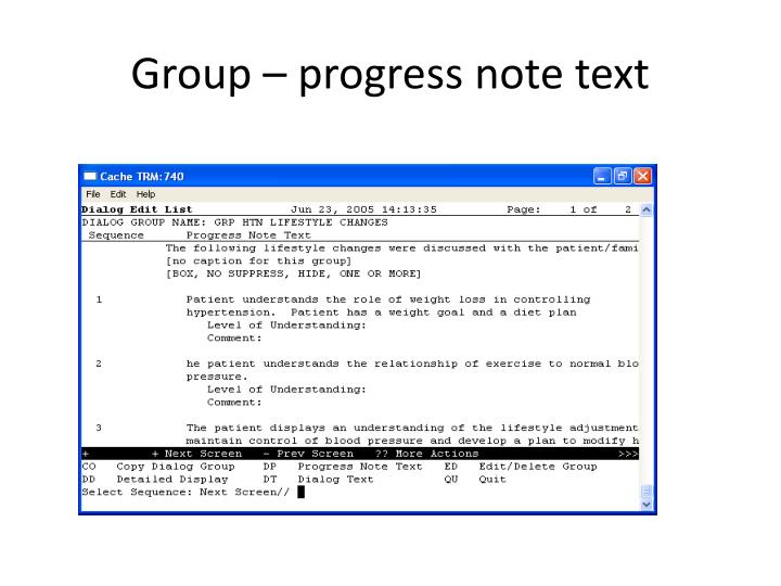 Group – progress note text