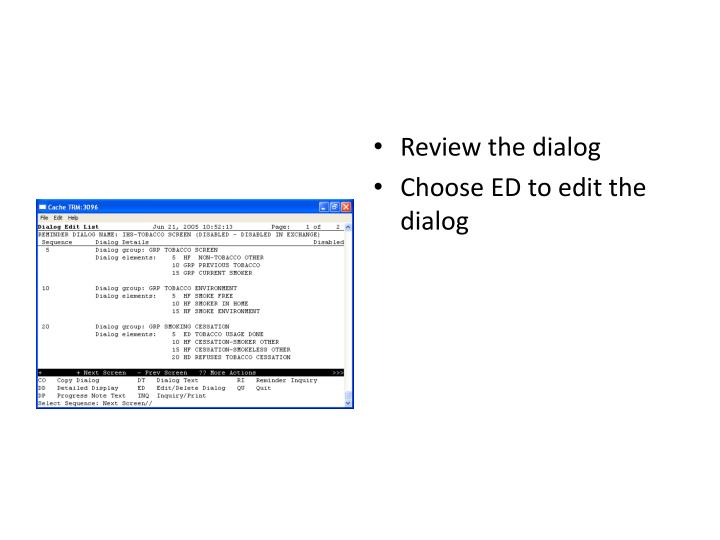 Review the dialog
