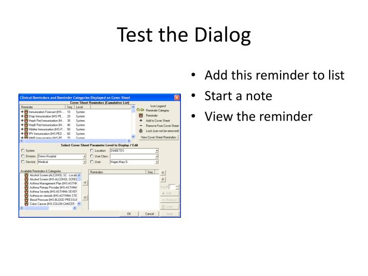 Test the Dialog