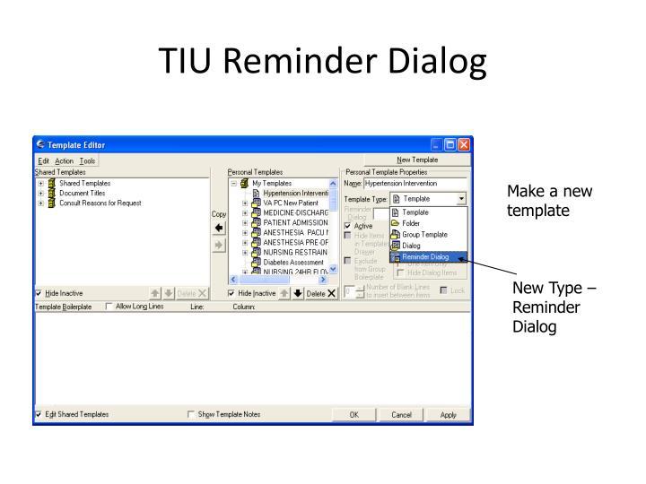 TIU Reminder Dialog