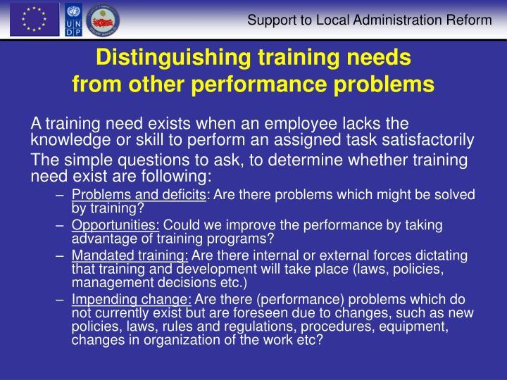 Distinguishing training needs