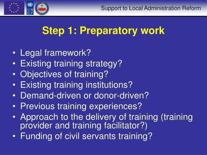Step 1: Preparatory work