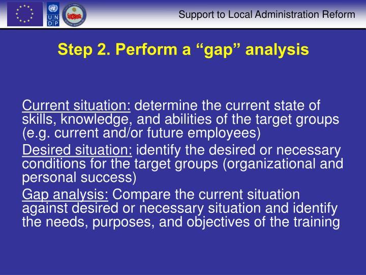 "Step 2. Perform a ""gap"" analysis"