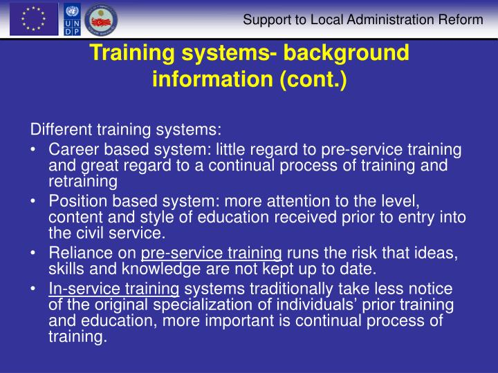 Training systems background information cont