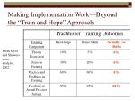 making implementation work beyond the train and hope approach