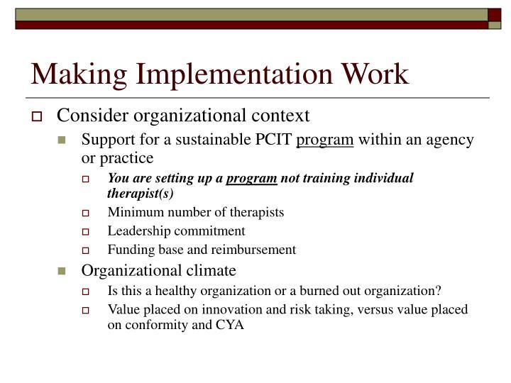 Making Implementation Work