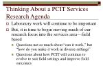 thinking about a pcit services research agenda