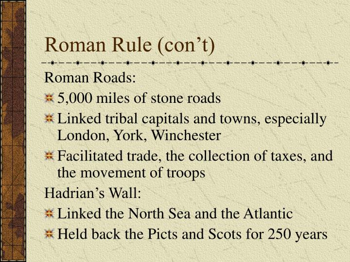 Roman Rule (con't)