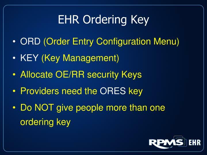 EHR Ordering Key