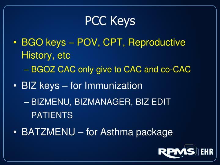 PCC Keys