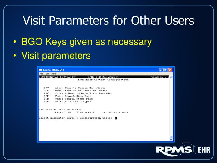 Visit Parameters for Other Users