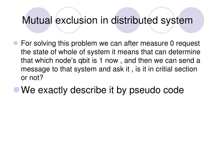 Mutual exclusion in distributed system