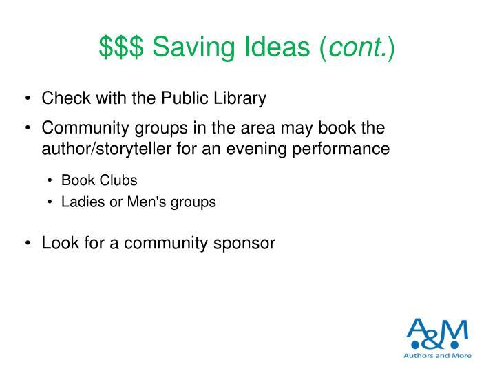 $$$ Saving Ideas (
