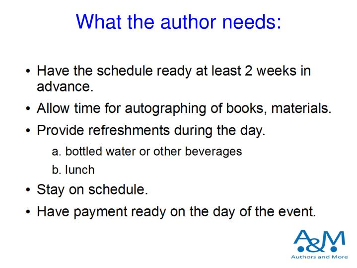 What the author needs: