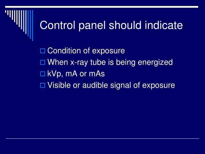 Control panel should indicate