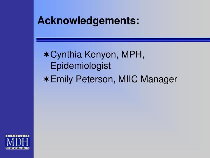 Acknowledgements: