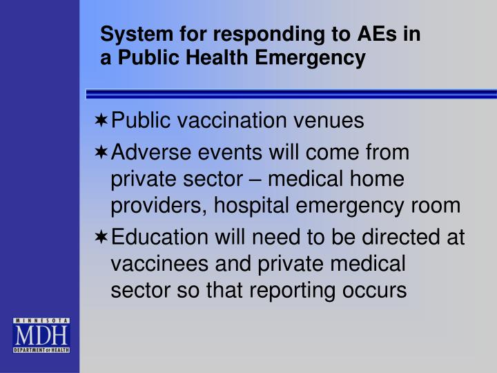 System for responding to AEs in a Public Health Emergency