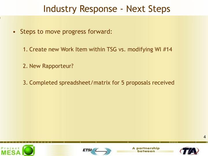 Industry Response - Next Steps