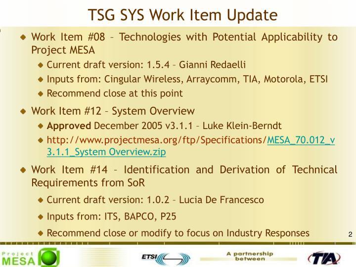 TSG SYS Work Item Update