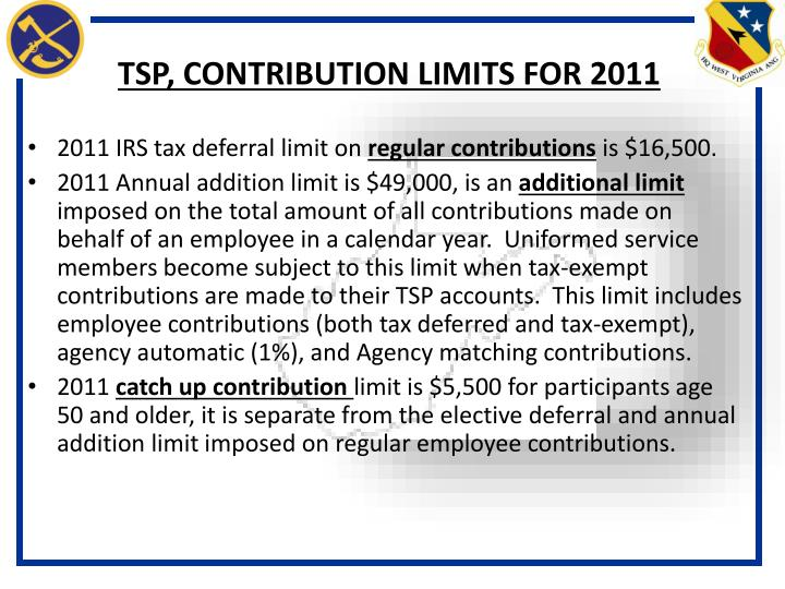 TSP, CONTRIBUTION LIMITS FOR 2011
