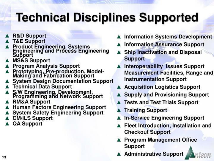 Technical Disciplines Supported