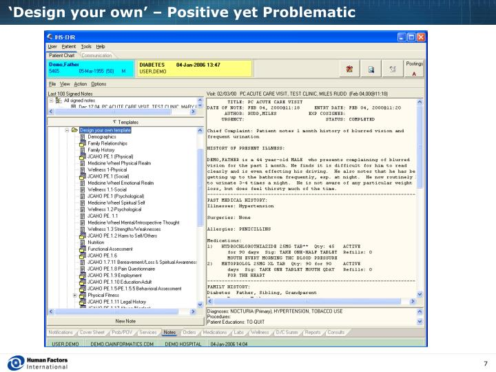 'Design your own' – Positive yet Problematic