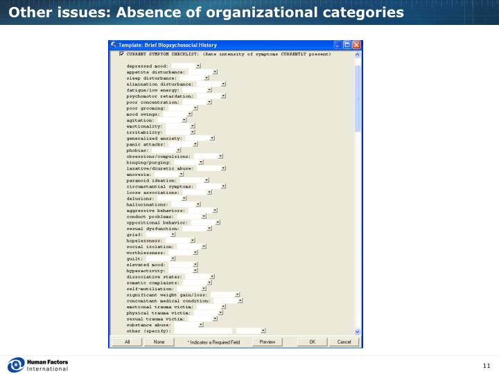 Other issues: Absence of organizational categories